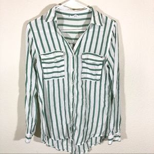 Striped button up blouse size small